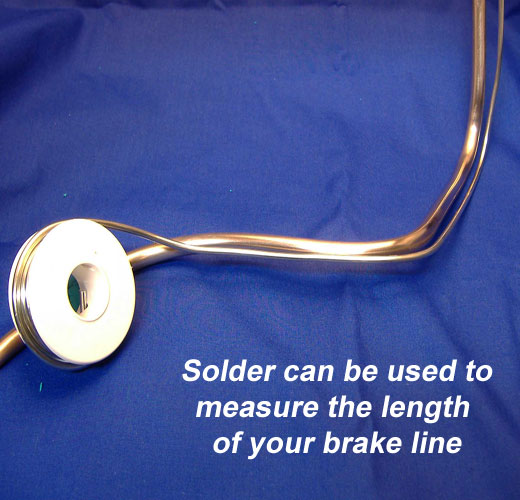 Solder being used to measure brake line